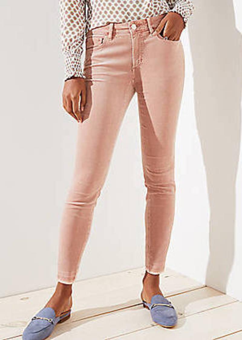 LOFT Curvy Frayed Corduroy Skinny Pants