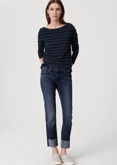 Curvy Frayed Cuff Straight Leg Jeans in Classic Dark Indigo Wash