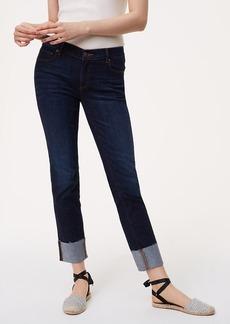 Curvy Frayed Cuff Straight Leg Jeans in Super Dark Indigo Wash