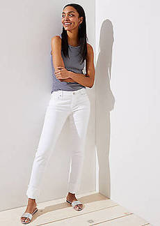 LOFT Curvy Frayed Cuff Straight Leg Jeans in White