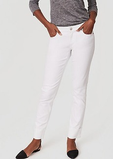 Curvy Frayed Cuff Straight Leg Jeans in White