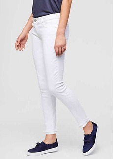Curvy Frayed Skinny Ankle Jeans in White