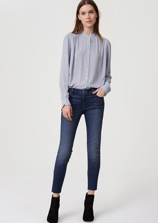 Curvy Frayed Skinny Jeans in Classic Mid Vintage Wash