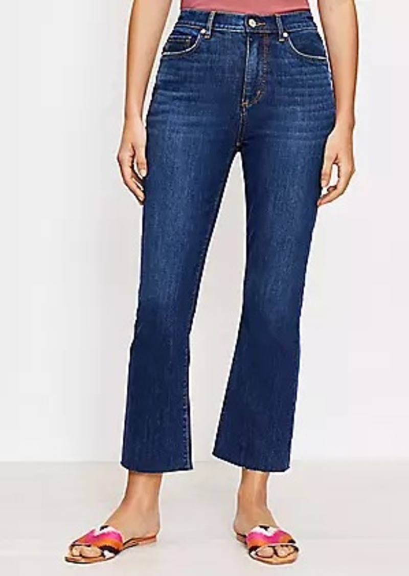 LOFT Curvy Fresh Cut High Rise Kick Crop Jeans in Pure Dark Indigo Wash