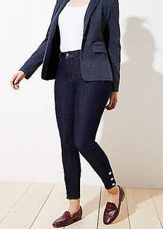 LOFT Curvy Gilded Button High Rise Slim Pocket Skinny Jeans in Dark Rinse