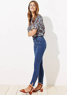 LOFT Curvy High Waist Slim Pocket Button Fly Skinny Jeans