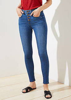 LOFT Curvy High Waist Slim Pocket Skinny Jeans in Staple Dark Indigo Wash