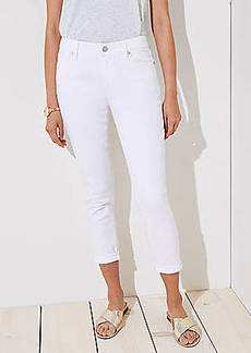 LOFT Curvy Skinny Crop Jeans in White