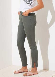 LOFT Curvy Slit Frayed Skinny Jeans in Sage