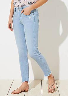 LOFT Curvy Soft Slim Pocket Chewed Hem Skinny Crop Jeans in Staple Light Indigo Wash