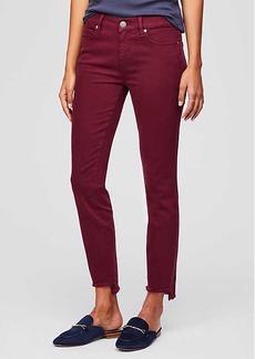Curvy Step Hem Skinny Jeans in French Burgundy