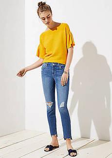 LOFT Curvy Step Hem Skinny Jeans in Light Vintage Wash