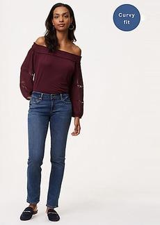 Curvy Straight Leg Jeans in Mid Staple Indigo Wash