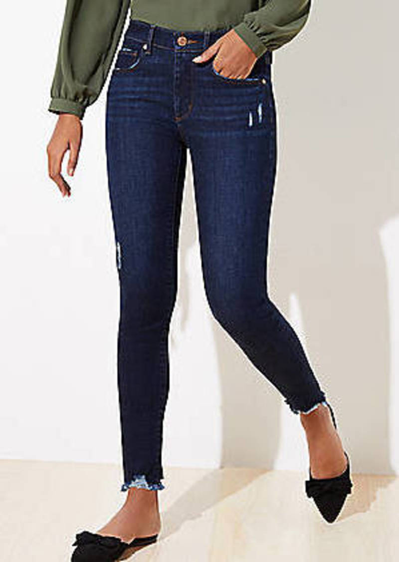 LOFT Curvy Destructed Chewed Hem Skinny Jeans in Staple Dark Indigo Wash