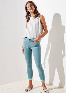 LOFT Curvy Unpicked Skinny Crop Jeans in Mineral Blue