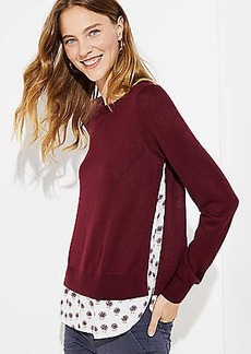 LOFT Dahlia Mixed Media Shirttail Sweater