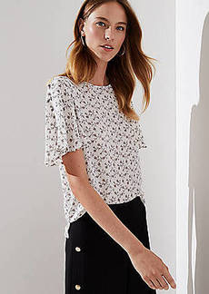 LOFT Daisy Chain Covered Button Sleeve Top