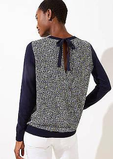 LOFT Daisy Crossover Back Mixed Media Sweater