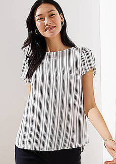LOFT Striped Tulip Sleeve Button Back Top