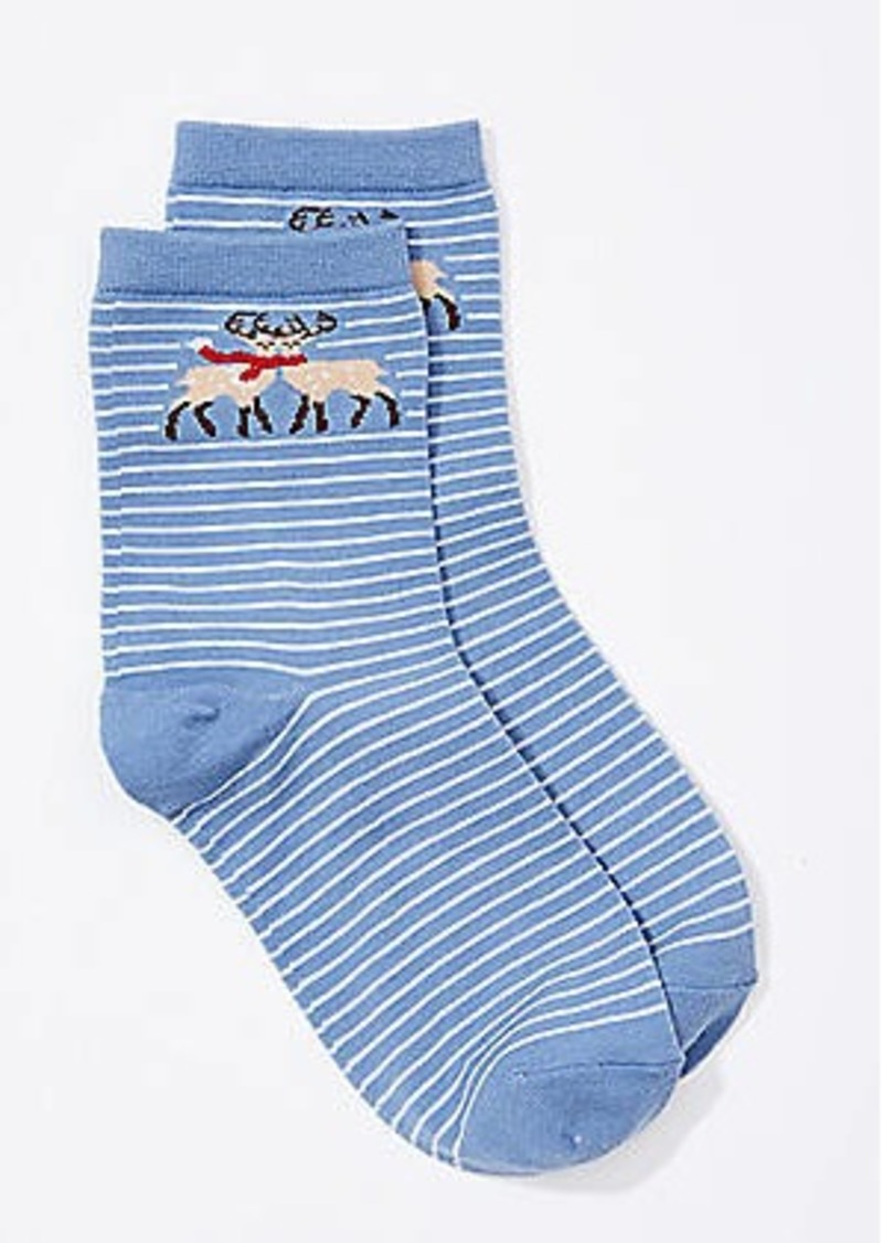 LOFT Deer Striped Ankle Socks