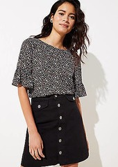 LOFT Denim Button Front Pocket Skirt
