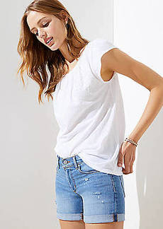 LOFT Denim Roll Shorts in Light Indigo Wash