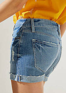 LOFT Denim Roll Shorts in Mid Staple Indigo Wash