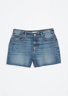 LOFT High Rise Cut Off Denim Shorts in Dark Indigo