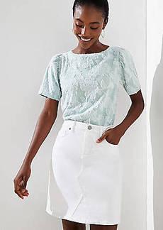 LOFT Denim Skirt in White