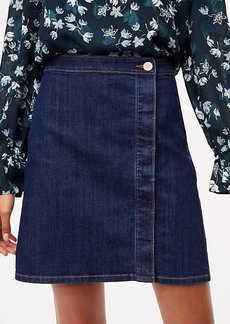 LOFT Denim Wrap Shift Skirt