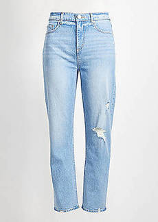 LOFT Destructed High Rise Straight Crop Jeans
