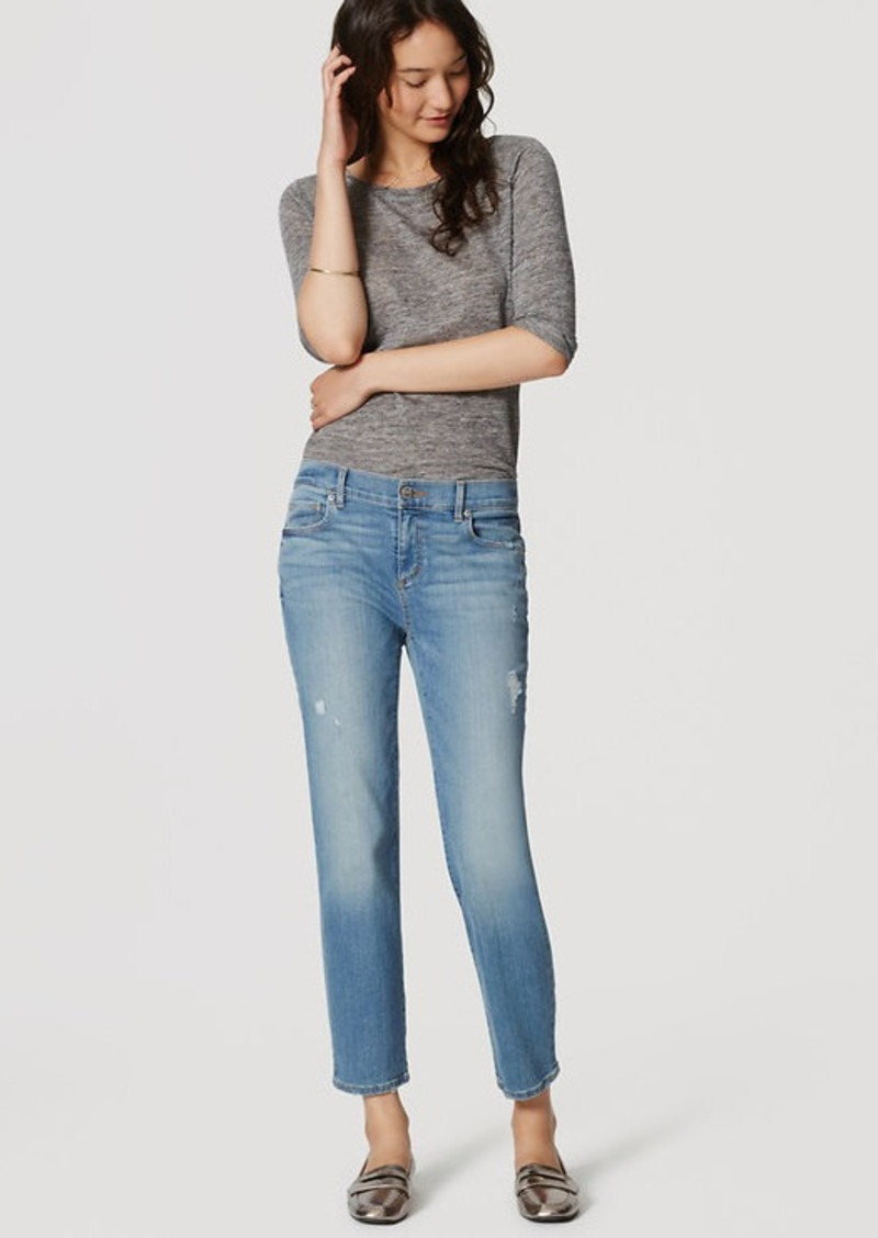 LOFT Distressed Straight Crop Jeans in Light Indigo Wash