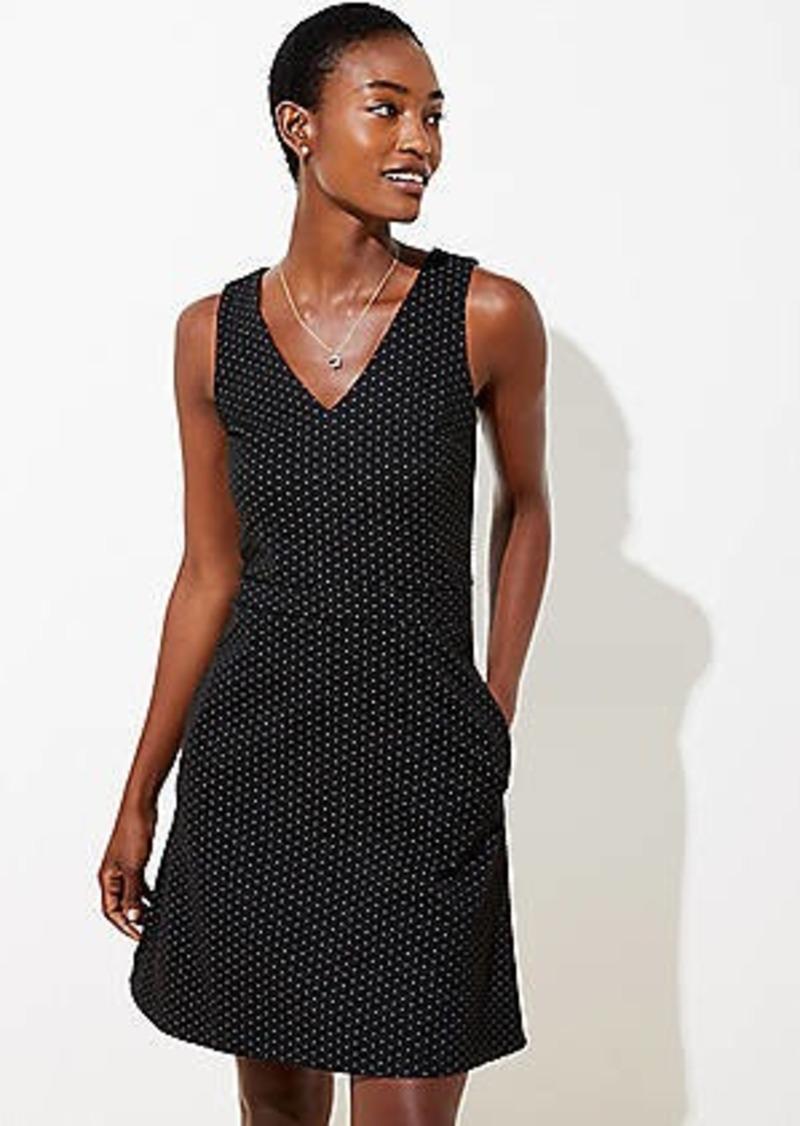 LOFT Dot Jacquard Pocket Flare Dress