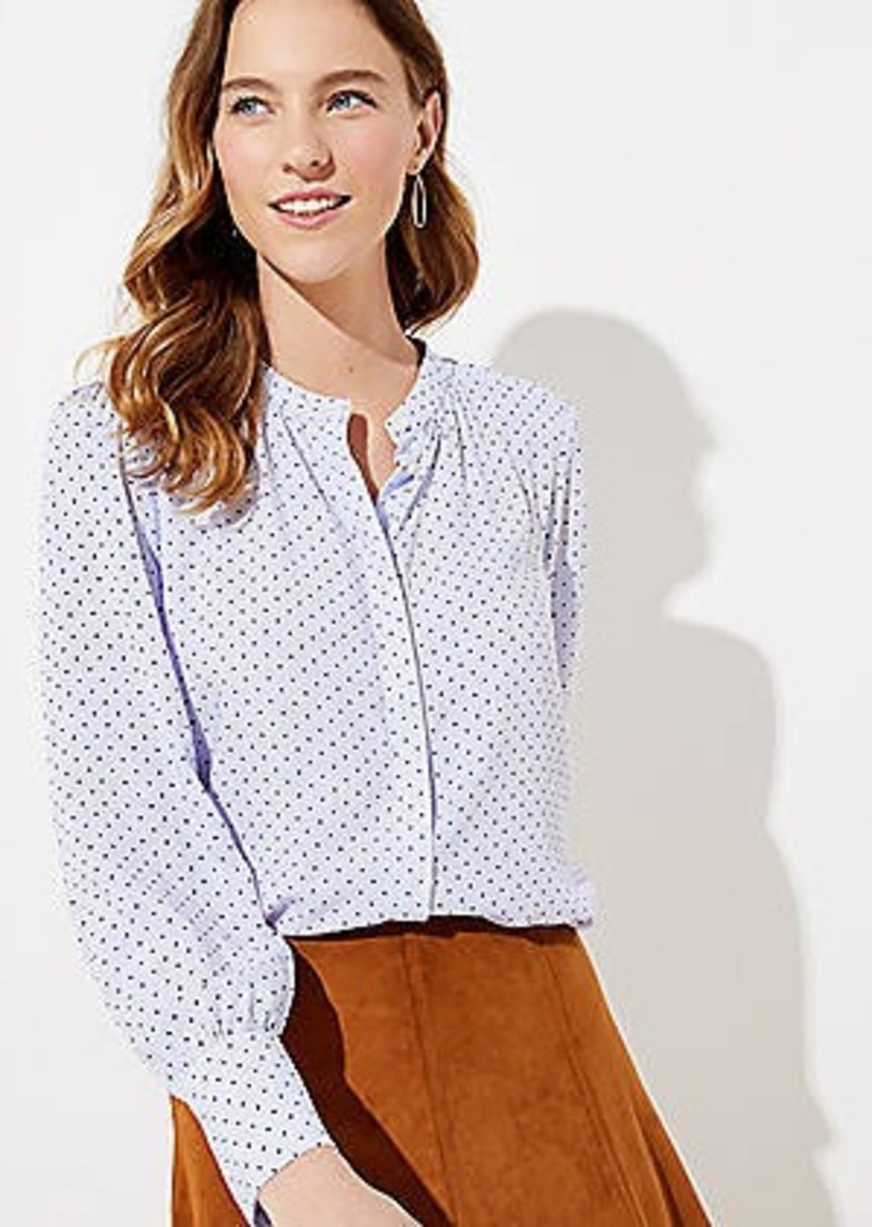 LOFT Dot Striped Crossover Back Utility Blouse