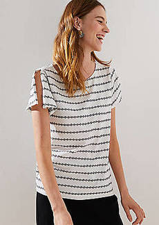 LOFT Dot Striped Split Sleeve Tee
