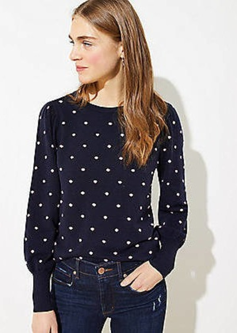 LOFT Dotted Bobble Pointelle Sweater
