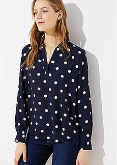 LOFT Dotted Collar Split Neck Blouse