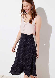 LOFT Dotted Midi Skirt