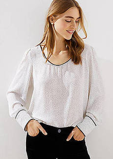 LOFT Dotted Piped Scoop Neck Blouse