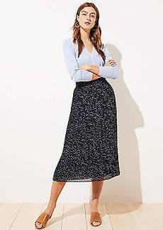 LOFT Dotted Pleated Midi Skirt