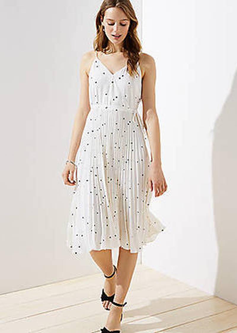 LOFT Dotted Pleated Wrap Midi Dress