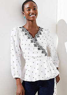 LOFT Dotted Scalloped Wrap Top