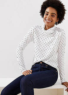 LOFT Dotted Shirttail Turtleneck