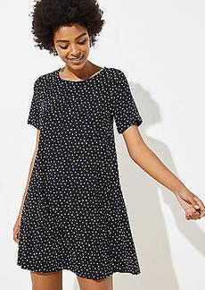 LOFT Dotted Short Sleeve Swing Dress