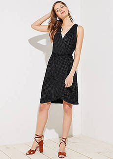 LOFT Dotted Sleeveless Wrap Dress