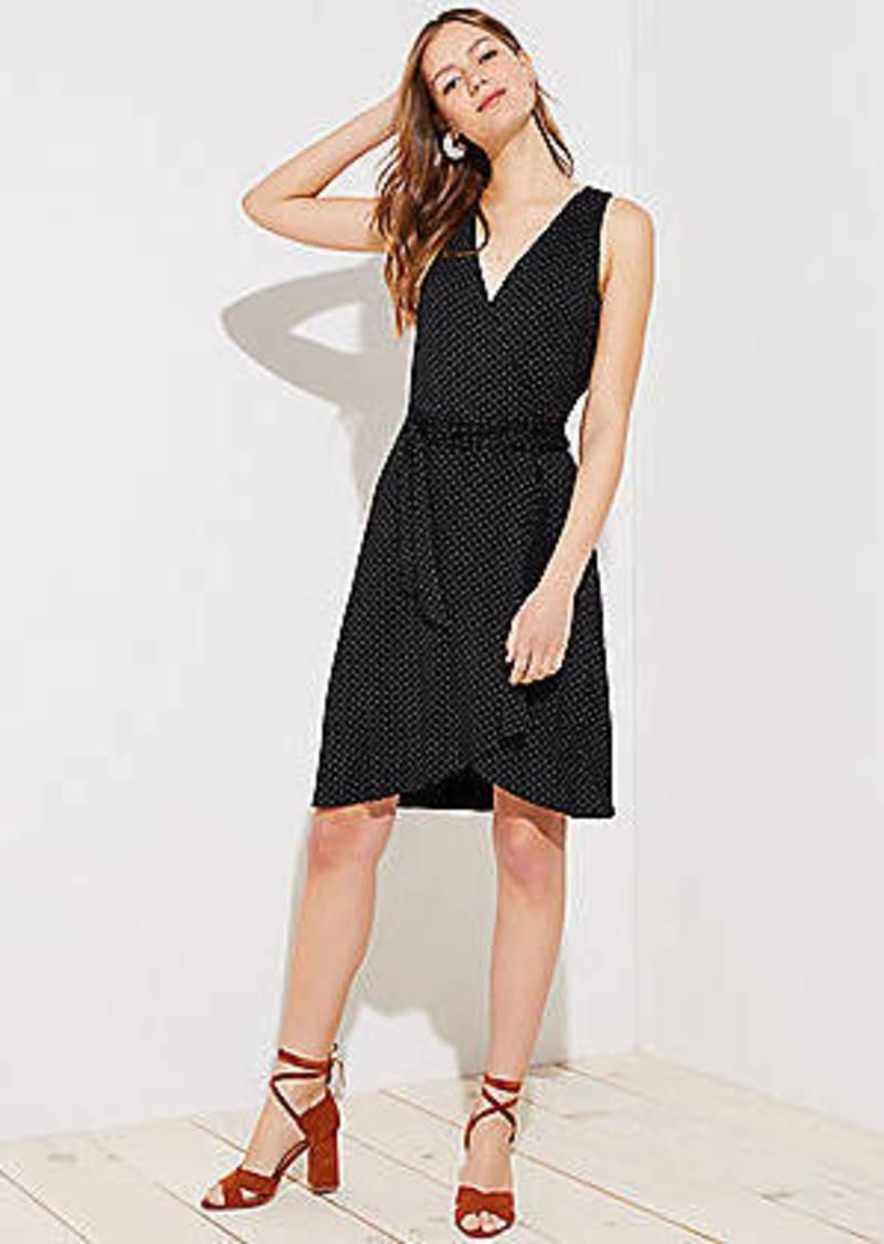 LOFT Dotted Sleeveless Wrap Dress