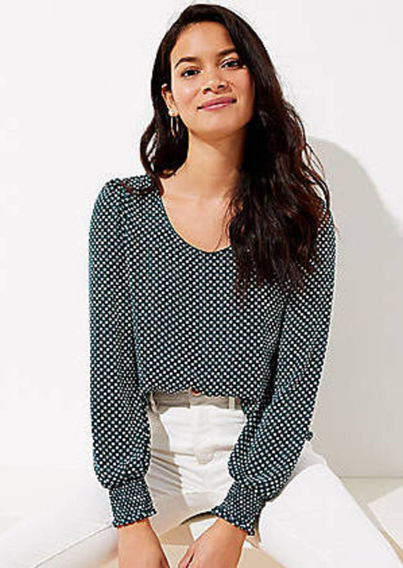 LOFT Dotted Smocked Cuff Blouse