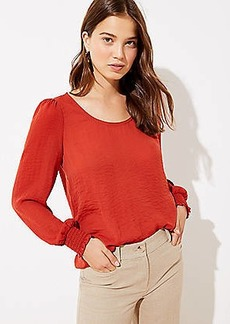 LOFT Dotted Smocked Cuff Scoop Neck Blouse