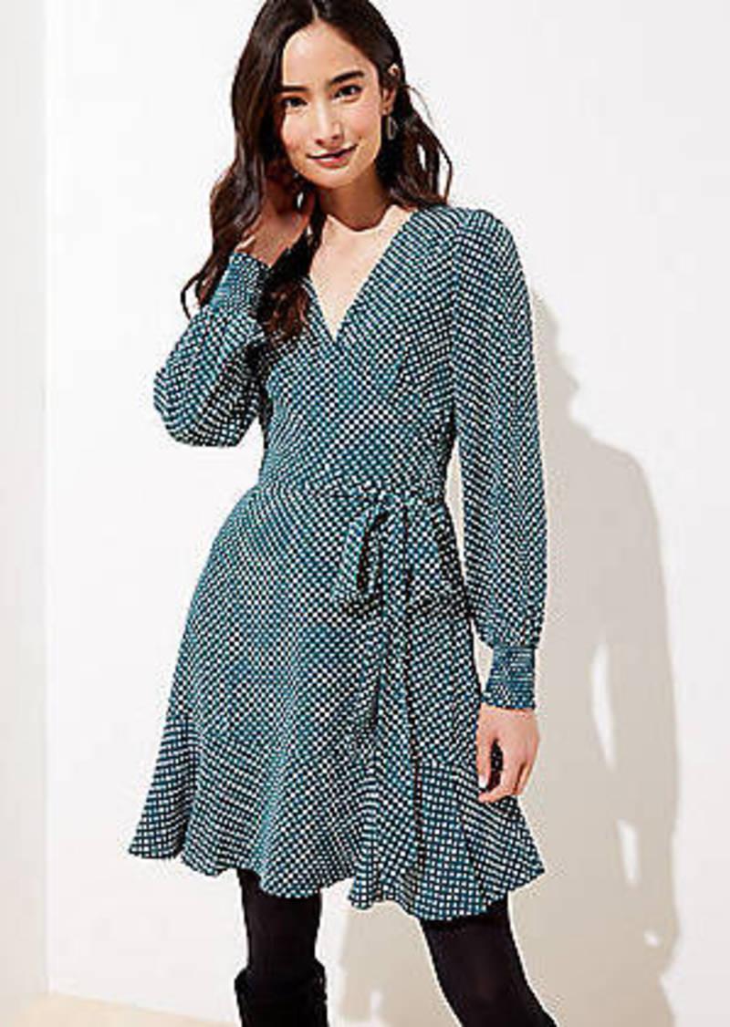 LOFT Dotted Smocked Cuff Wrap Dress