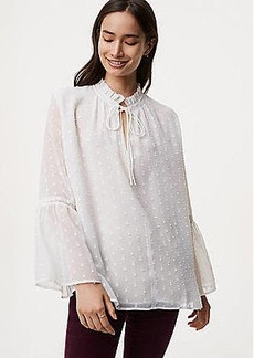 LOFT Dotted Tie Neck Bell Sleeve Blouse